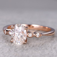 6x8mm Oval Moissanite Engagement Ring Diamond Wedding Ring 14k Rose Gold Milgrain Antique Style