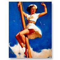 Climbing The Sailboat Mast Pin Up Girl ~ Retro Art Post Cards