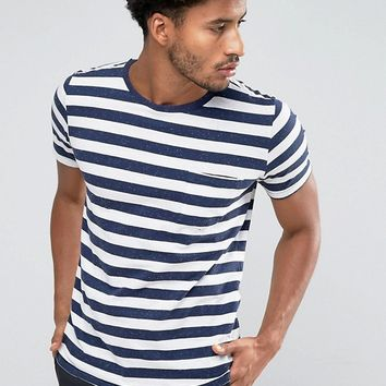 Mango Man Striped T-Shirt In Navy And White at asos.com