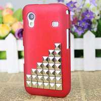 Red Hard Case Cover With Silvery Stud For Samsung Galaxy Ace S5830