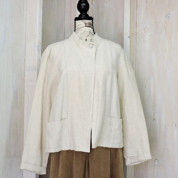 Linen Top / Jacket / size L 14 / 16 / Vintage 80s Orvis  / loose fit 100% linen blouse
