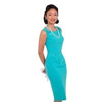 60's Vintage Office Lady glamorous Turquoise Blue Pencil Dress
