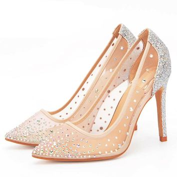 Molly mesh crystal pointed heels