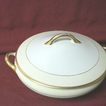 Noritake, China dinnerware M Nippon, Cream band,  Covered vegetable Dish