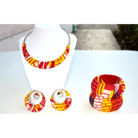 African Jewelry Set, Drop earring and Chunky Bangle set