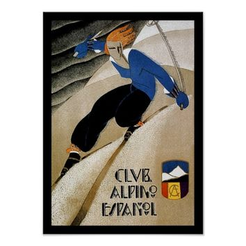 Spanish Art Deco downhill ski travel poster