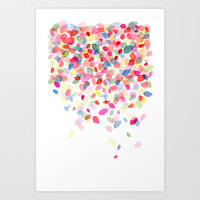 Watercolor Colorful Dots Falling Art Print by Yao Cheng Design