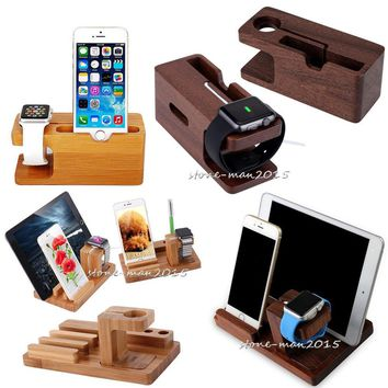 Wood Bamboo Charging Dock Station Stand Holder For Apple Watch iPhone 8 7 6 iPad
