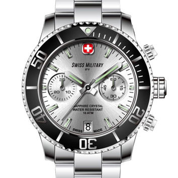 Swiss Military by R 09502 3N A Alpha Men's Watch Chronograph Silver Dial