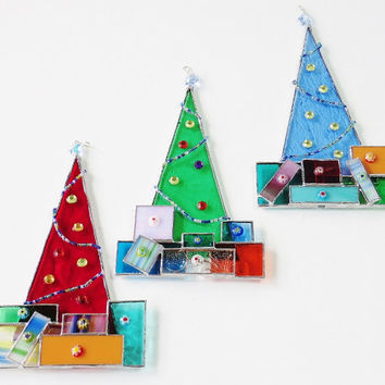 Stained Glass Christmas Tree Presents Suncatcher Ornament Holiday Decoration Swarovski Crystal Blue Star Glass Garland Cabochon Milliefiori