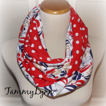Nautical Red White Blue Scarf Sailboat Red with White Polka Dots Spring Infinity Scarf Women's Accessories