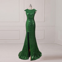 Real Image In Stock Sequined Mermaid Evening Dresses With Sweep Train Cap Sleeveless Prom Dresses 2016 Party Gowns Side Slit