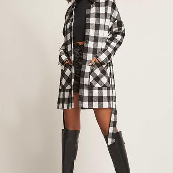 FRNCH Longline Plaid Coat