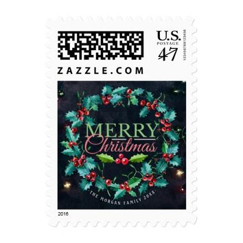 Green Red Watercolor Holly Wreath Merry Christmas Postage
