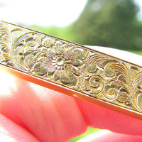 Art Nouveau Engraved Floral Bar Pin Brooch, 14K Gold, Intricate Flower and Leaf Design, Original Engraved Name, by Link & Angell, in Old box