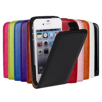 Luxury Case For Apple iPhone 4 4s Case Crazy Horse PU Leather Flip Phone Cover For iPhone4 iPhone 4s Coque Fundas Housing Shell