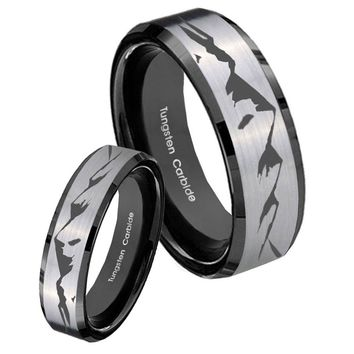 His Hers Silver Black Mountain 2 Tone Tungsten Carbide Wedding Rings Set
