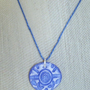 Petite Essential Oil Pendant Diffuser Necklace Handmade Blue and White Clay Aromatherapy Jewelry OOAK Children Teen Diffuser Pendant