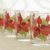 Vintage Highball Glasses Set of Four Christmas Poinsettia Watercolors Block SPAL Mary Lou Goertzen Artist 8 Ounce Barware Holiday Party