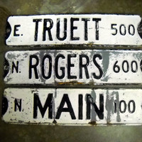 Vintage Street Sign Black and White Road Sign Double Sided Main Rogers Truett