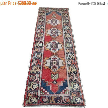 ON SALE Medallion Design Turkish Vintage Runner Rug 9'10'' x 3'  Free Shipping