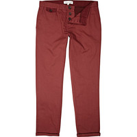 River Island MensBright red slim leg rolled up chinos