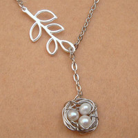 Nest Leaf and White Pearl Necklace by turquoisecity on Etsy