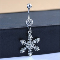 Snowflake Dangle Belly Navel Bell Button Ring Body Piercing Jewelry Christmas Gifts