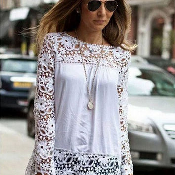 White Chiffon Embroidered Floral Crochet Lace Blouses Shirts
