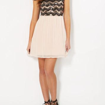 Pink Sequin Chevron Tulle Dress | Mini Dresses | rue21