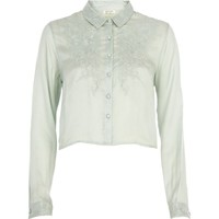Green Chelsea Girl embroidered cropped blouse
