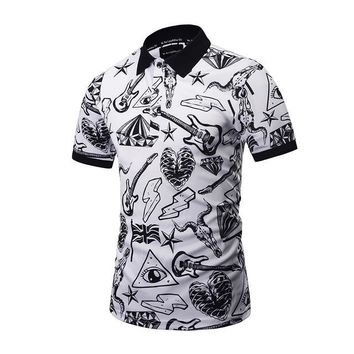 New Brand design Polo Shirt Men Fashion style POP printed letter skull slim fit Polo shirt