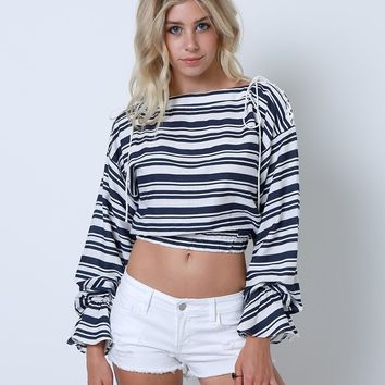 Ever So Fierce Stripe Crop Top - White/Navy