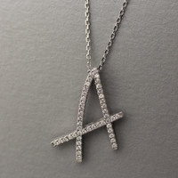 925 Sterling Silver Initial Necklace with Cubic Zirconia setting