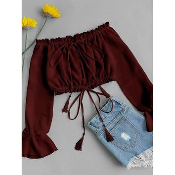 Off Shoulder Drawstring Crop Top
