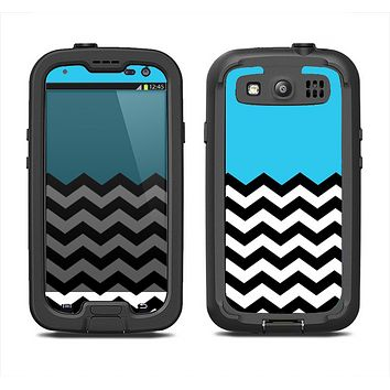 The Solid Blue with Black & White Chevron Pattern Samsung Galaxy S3 LifeProof Fre Case Skin Set