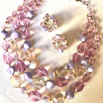 Beautiful Vintage Lavender Purple & Clear Lucite Beads With Matching Cluster Earring Set Made in West Germany in Excellent Condition!