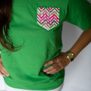 Monogrammed Pocket  (Chevron or Other Fabric)  Tee
