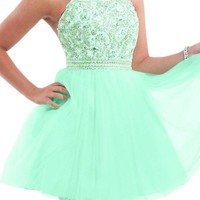 Audrey Bride Woman's Short Prom Dress Homecoming Dress Rhinestone-14-Sage
