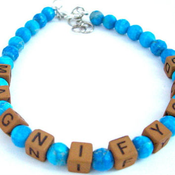 Colorful Religious Bracelet, Alphabet Bead Bracelet, Blue and Brown Religious Bracelet, Scripture Bracelet