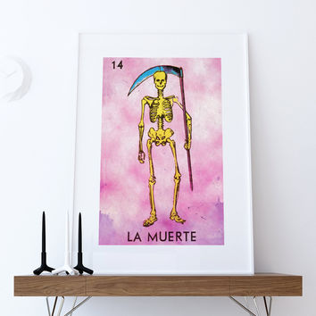 Loteria La Muerte Mexican Retro Illustration Art Print Vintage Giclee on Cotton Canvas or Paper Canvas Poster Wall Decor