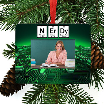 Nerdy Periodic Table of Element Christmas Tree Ornament / Picture Frame
