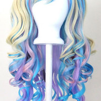 20'' Gothic Lolita Wig + 2 Pig Tails Set Pastel Rainbow Mix Blend Cosplay NEW