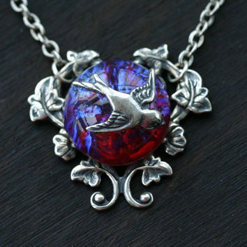 Dragons Breath Fire Opal Necklace with Silver Sparrow