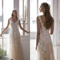 V Neck Light Champagne Vintage Bridal Wedding Dress