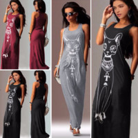 Cute Casual Egyptian Cat Slim Long Dress