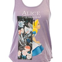 Mighty Fine Disney's Alice in Wonderland Garden Contrast Tank Top-Lavender-Medium