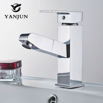 Yanjun Deck Mounted Pull Out Brass Chrome Finish Bathroom Faucet Vanity Vessel Sinks Mixer Cold And Hot Water Tap YJ-6676