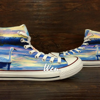 WEN Original Design Swan at Dusk Swan Converse Swan Shoes Hand Painted Shoes,Painted Canvas Shoes Birthday Gifts converse chuck taylor