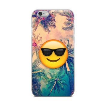 Palm Trees Cool Kids Smiley Face With Black Shades Emoji Teen Cute Girly Girls Pink & Blue iPhone 4 4s 5 5s 5C 6 6s 6 Plus 6s Plus 7 & 7 Plus Case